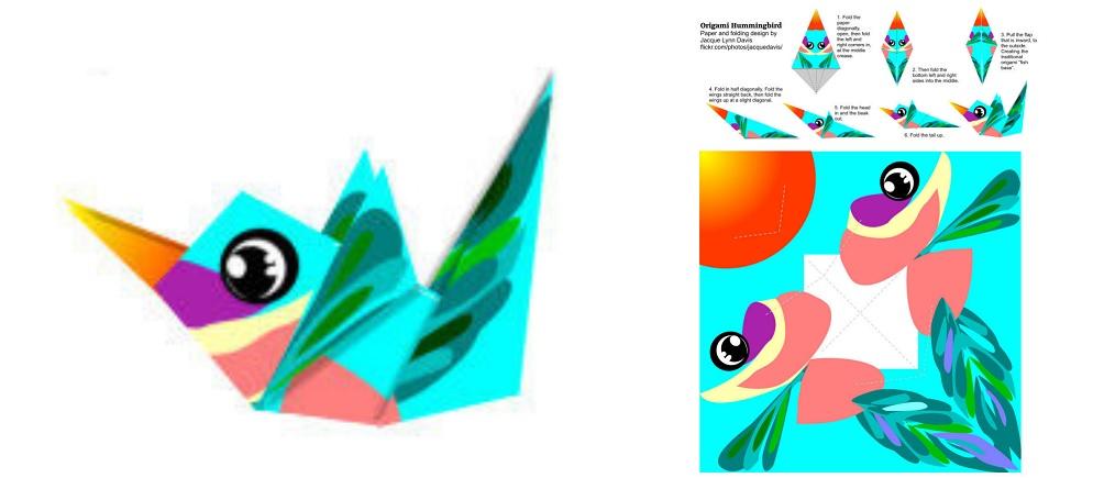 colibri en origami